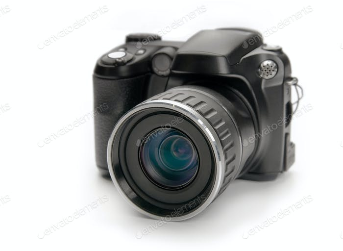 Digital camera on white background