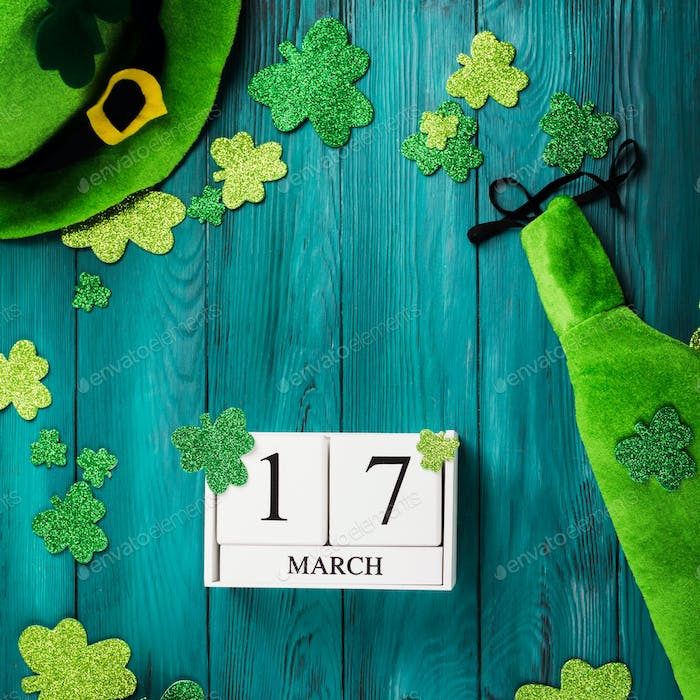 St Patrick Day dark green background with calendar
