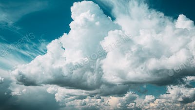 Amazing Natural Bright Dramatic Sky With Rain Clouds. Natural Sky Background. Beauty In Nature