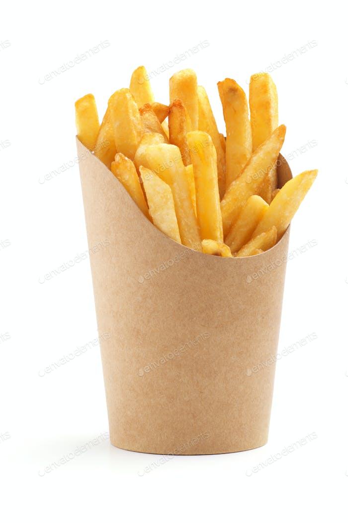 fries in paper wrapper