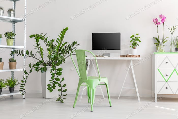 Minimalist  workplace surrounded by plants