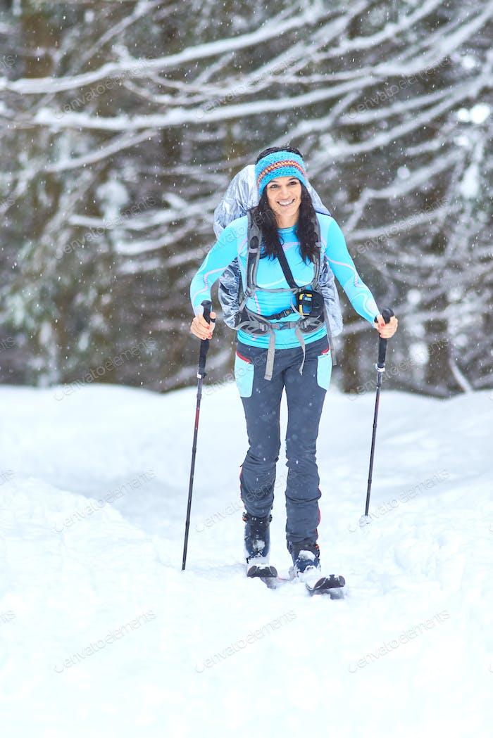 Hiking ski in the woods