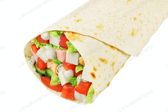 Greek wrap sandwich isolated