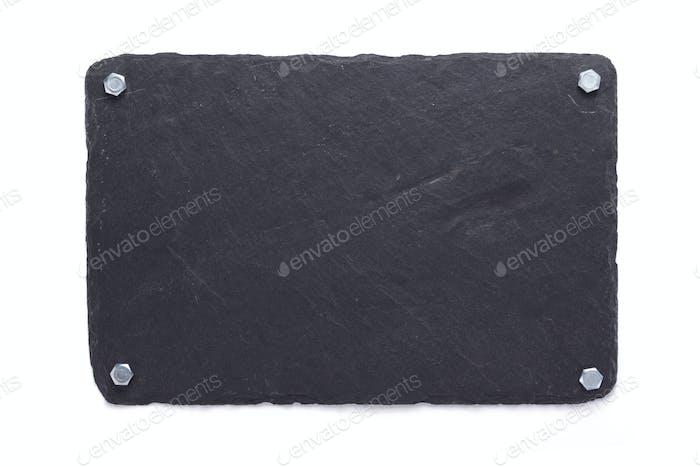 slate stone tray on white background