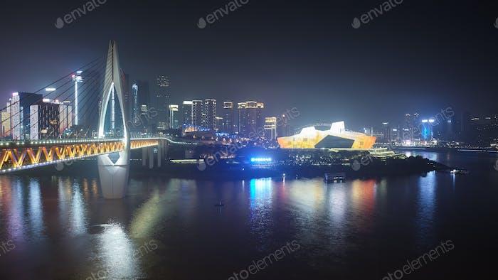 Chongqing shrouded in smog at night, China.