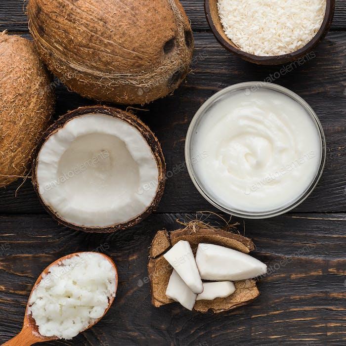 Kochen mit Kokosnuss Konzept