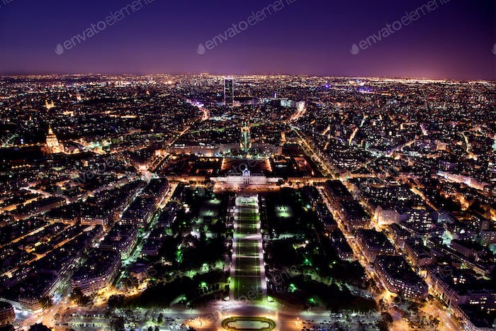 Paris panorama, France at night.