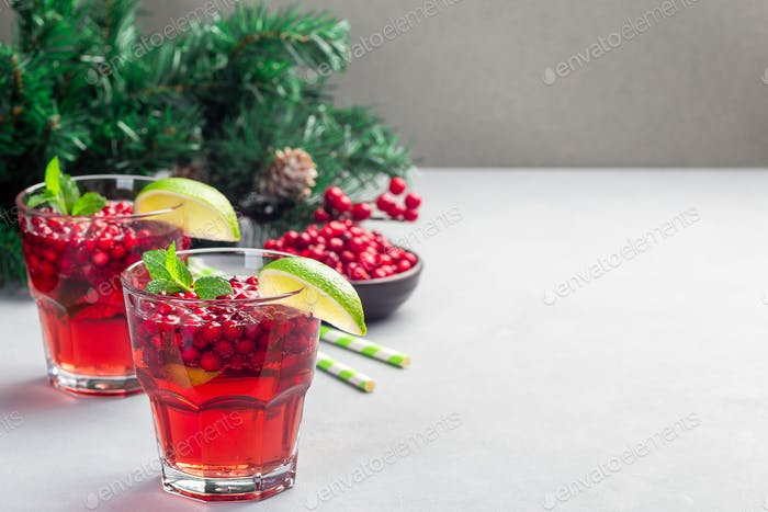 Lingonberry and lime punch or limeade in a glass