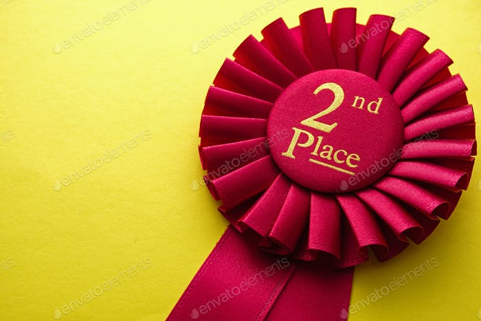 Red ribbon rosette for the second place runner up