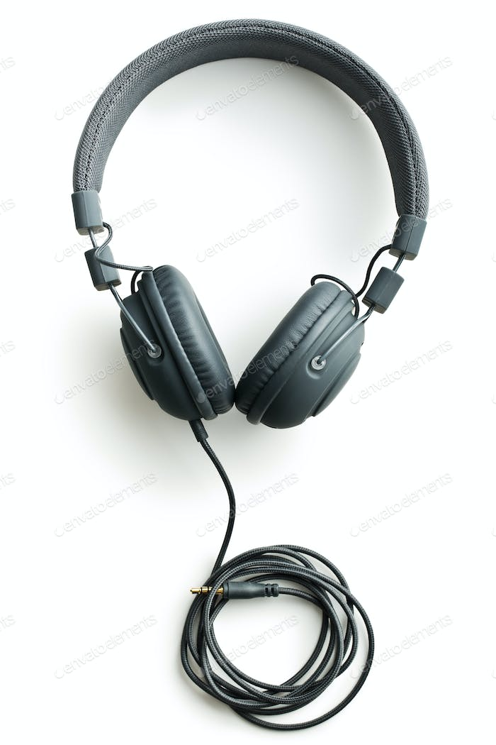 Gray vintage headphones.
