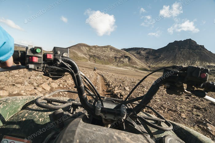Quad bike on dirt road