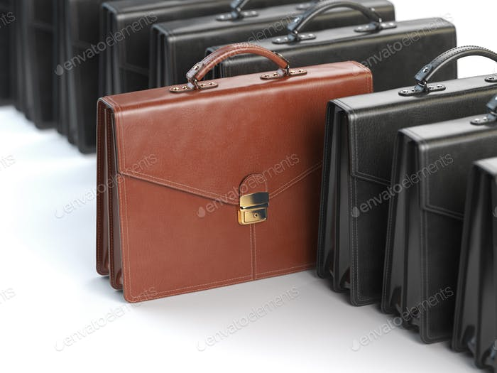 Choosing stock market portfolio or briefcase concept. One unique