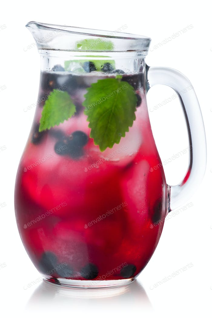 Blackcurrant mellisa iced drink pitcher, paths