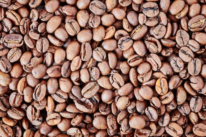 Fond de grains de café fraîchement torréfiés