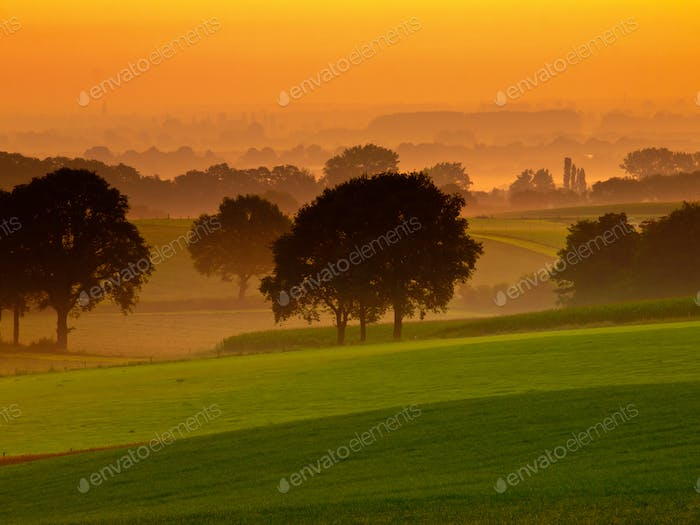 Orange sunrise over misty and hilly farmland