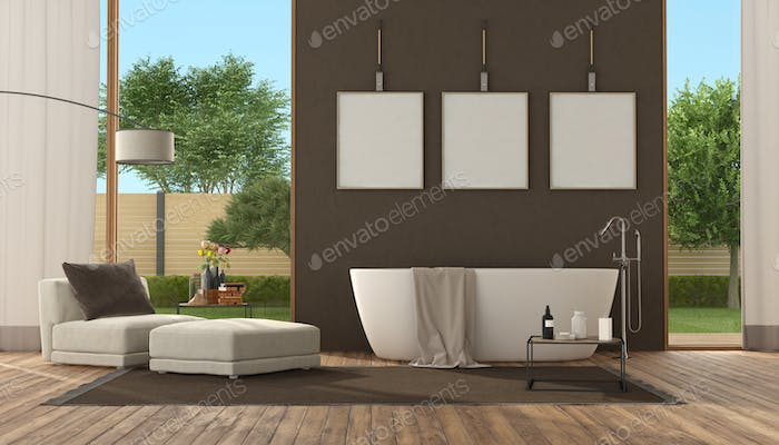 Modern brown bathroom with bathtub