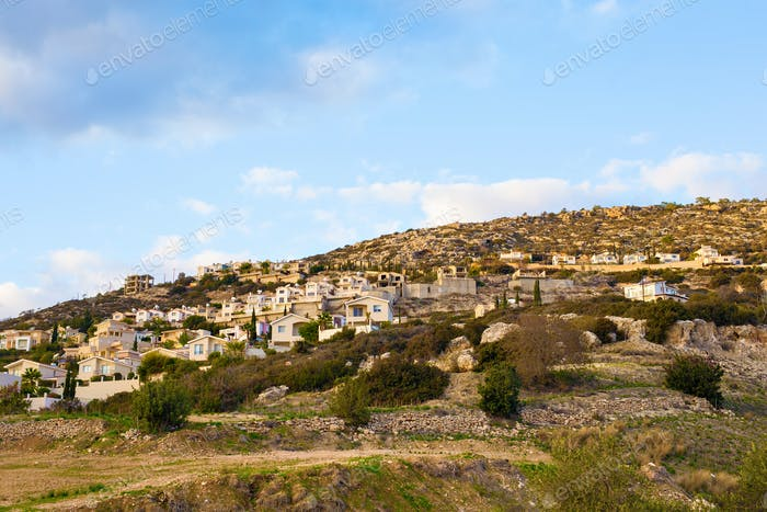 Top view of peyia village near the Mediterranean Sea in Cyprus