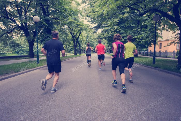 runners team on morning training