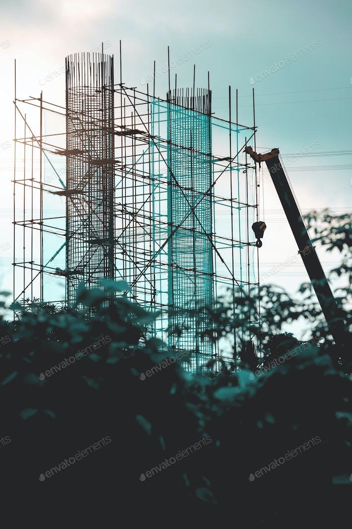 Stahlbrückenkonstruktion mit Gerüst und Rahmen