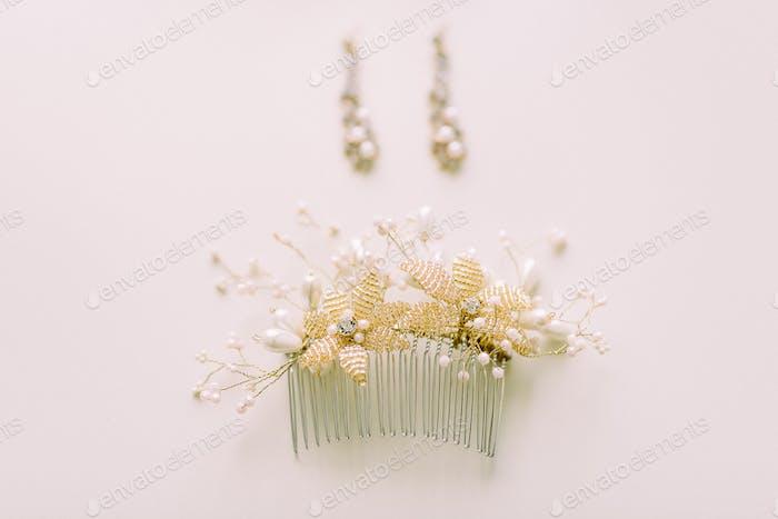Wedding gold hair comb