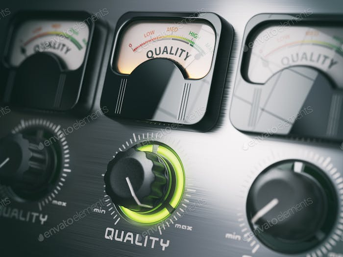 Best quality concept. Quality control switch knob on maximum pos