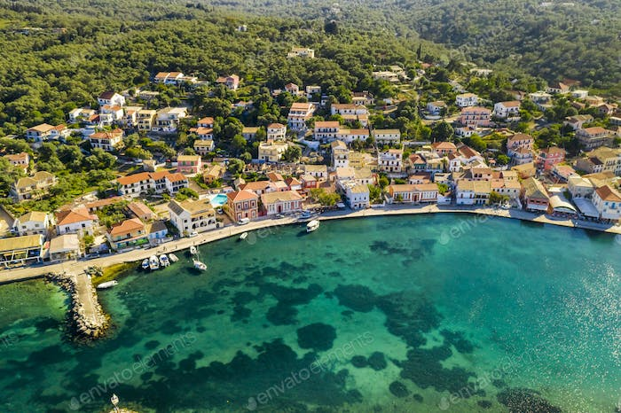 Gaios, capital city of Paxos Island, aerial view. Greece