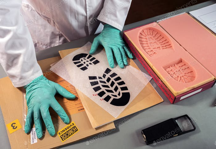 Forensic scientist impatient because he can't find similarity in shoe sole prints