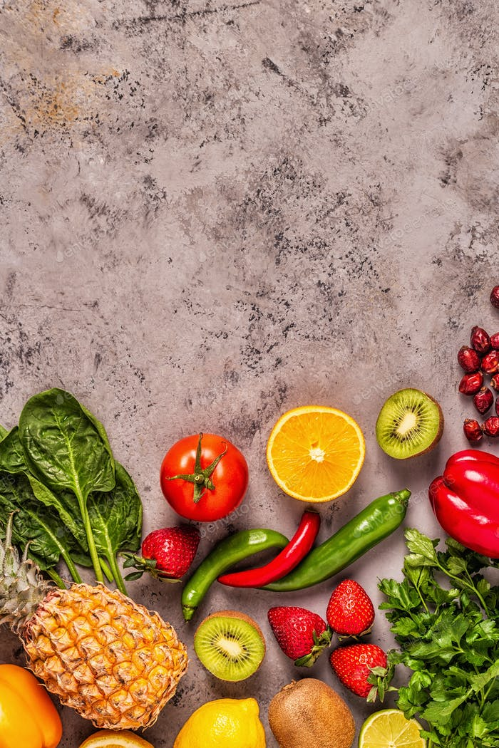 Fruits and vegetables rich in vitamin C.