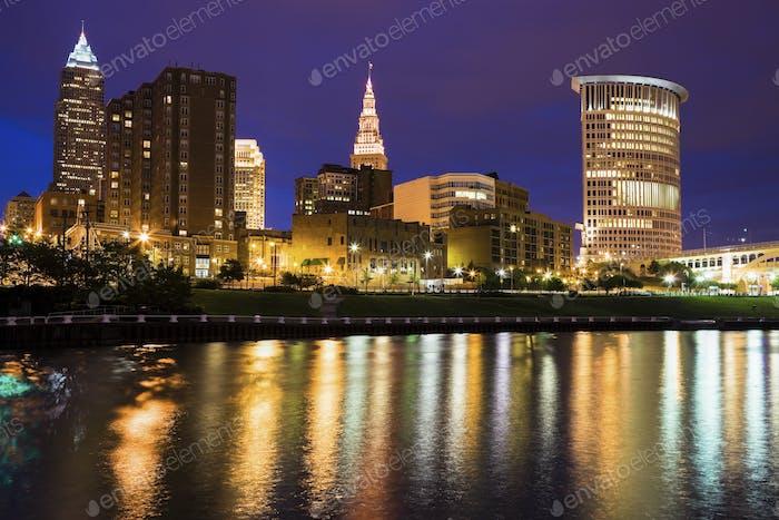 Cleveland skyline across Cuyahoga River