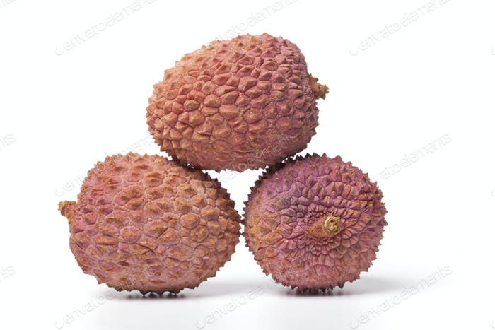 Three fresh lychees