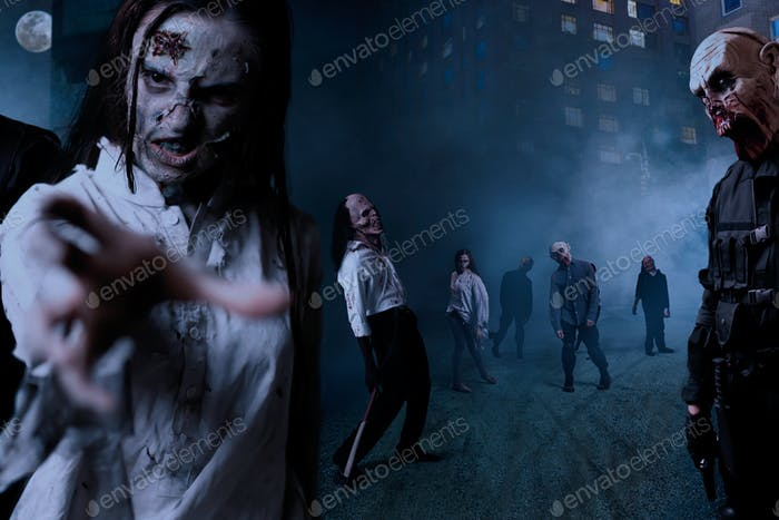 Zombies with bloody faces on night street, monster