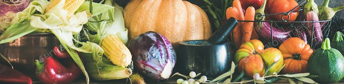 Assortment of various Autumn vegetables for healthy cooking, wide composition