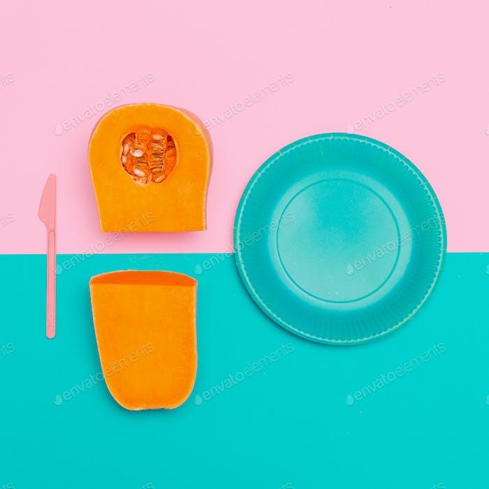 Kürbissuppe Vegan Minimal Art Style