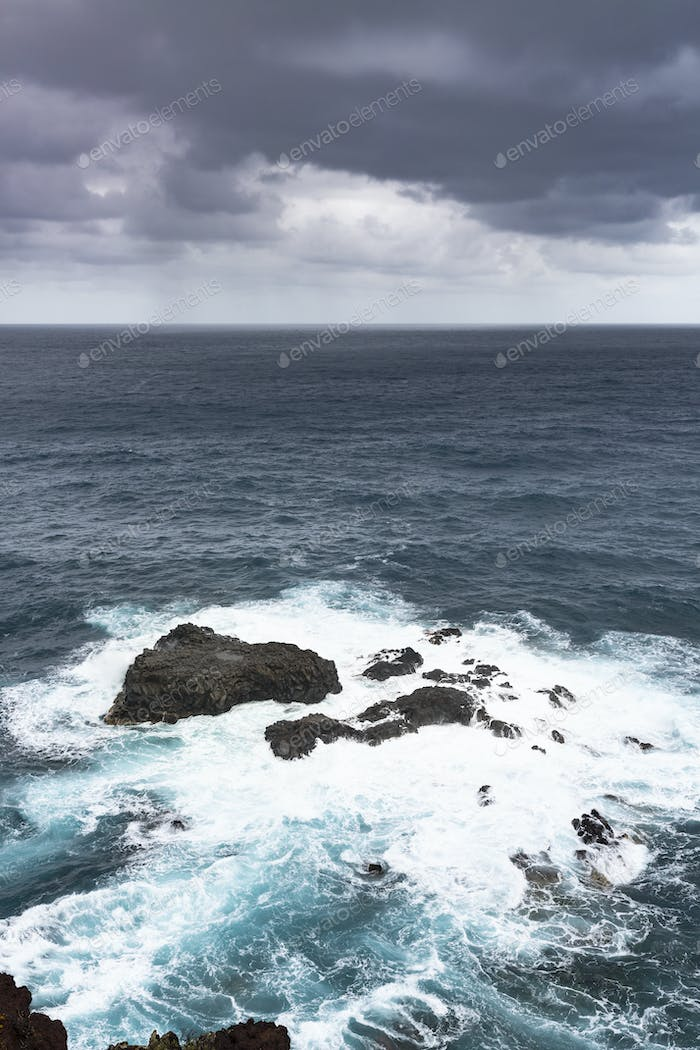 La Palma Nogales Reefs During Storm, Spain