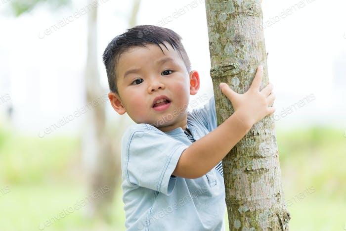 Kleines Kind klettert zur Baumrinde
