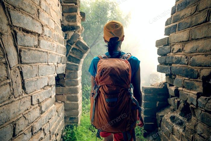 Tourist  hiking on chinese great wall