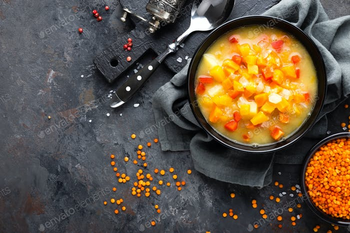 Red lentil soup with vegetables. Vegetarian food