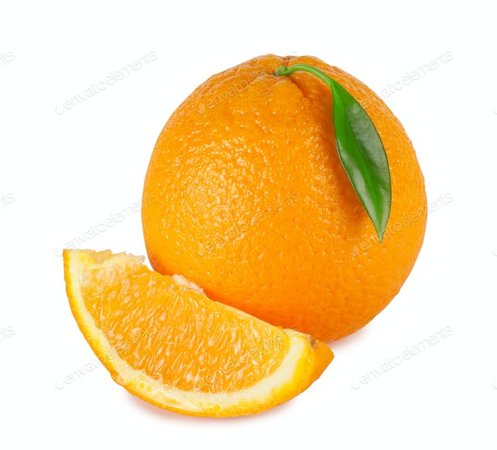 Sweet orange with a bright green leaf