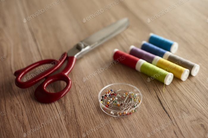 Colorful sewing items on the table