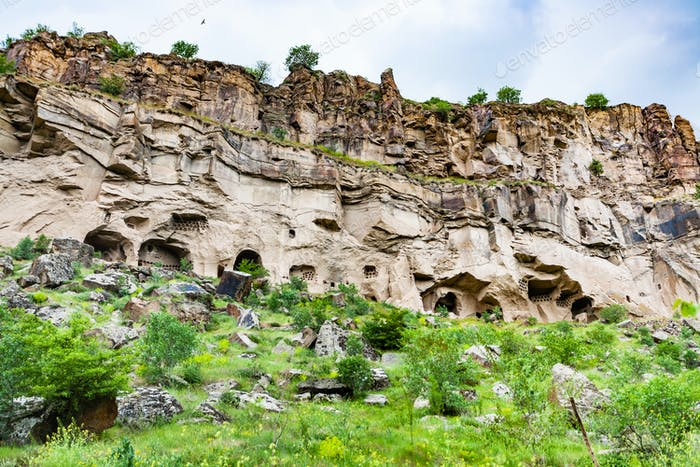 carved caves in Ihlara Valley in Cappadocia