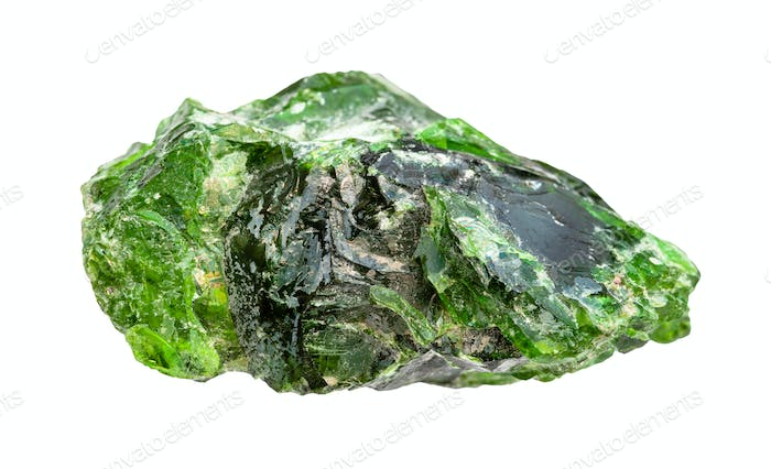 rough Chromian diopside rock isolated on white
