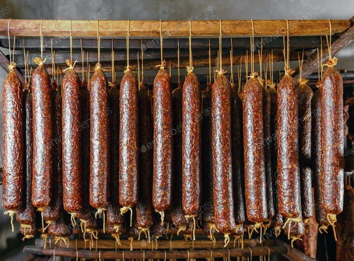 Sticks salami or sausages