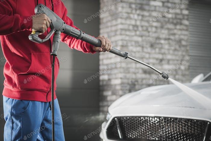 Power Washing Modern Car