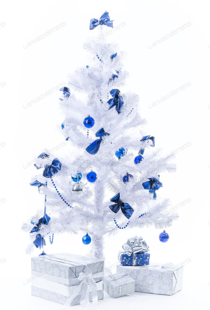 Beautiful New Year presents in silver blue color