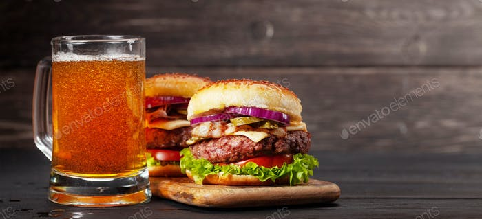 Homemade tasty beef burgers and beer