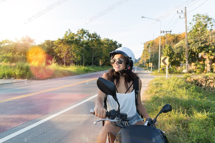 Attractive Woman On Motorcycle Wear Helemt On Countryside Road Pretty Woman Motorcyclist Travel On