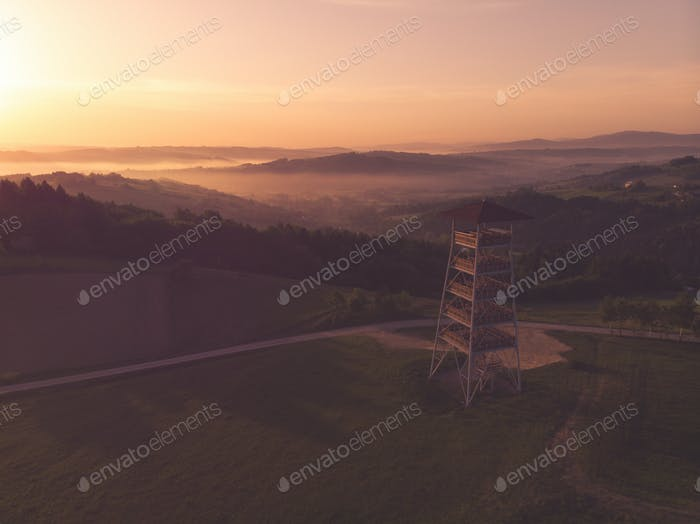 Toned aerial image of mist in rural landscape