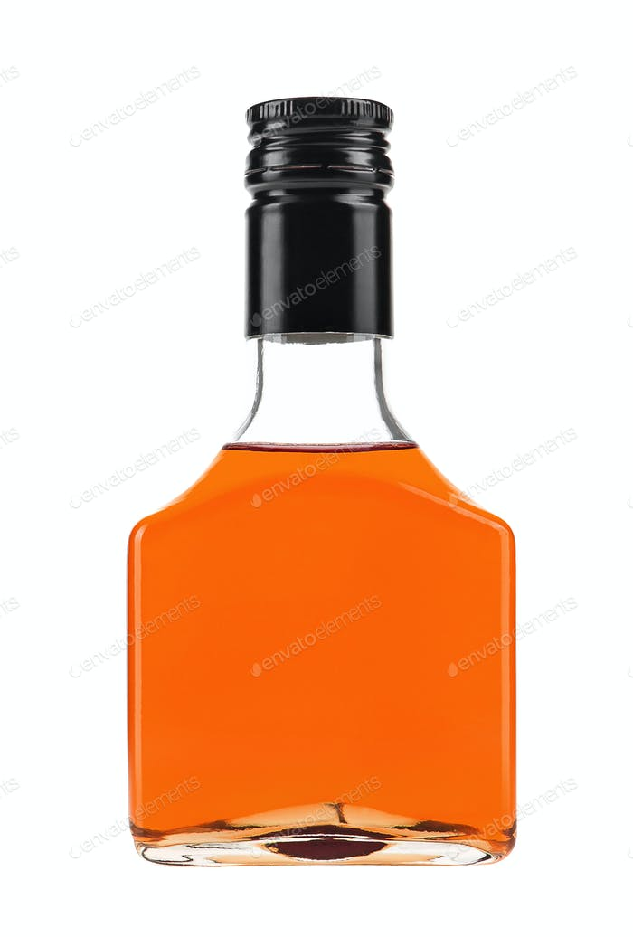 bottle with drink isolated on white