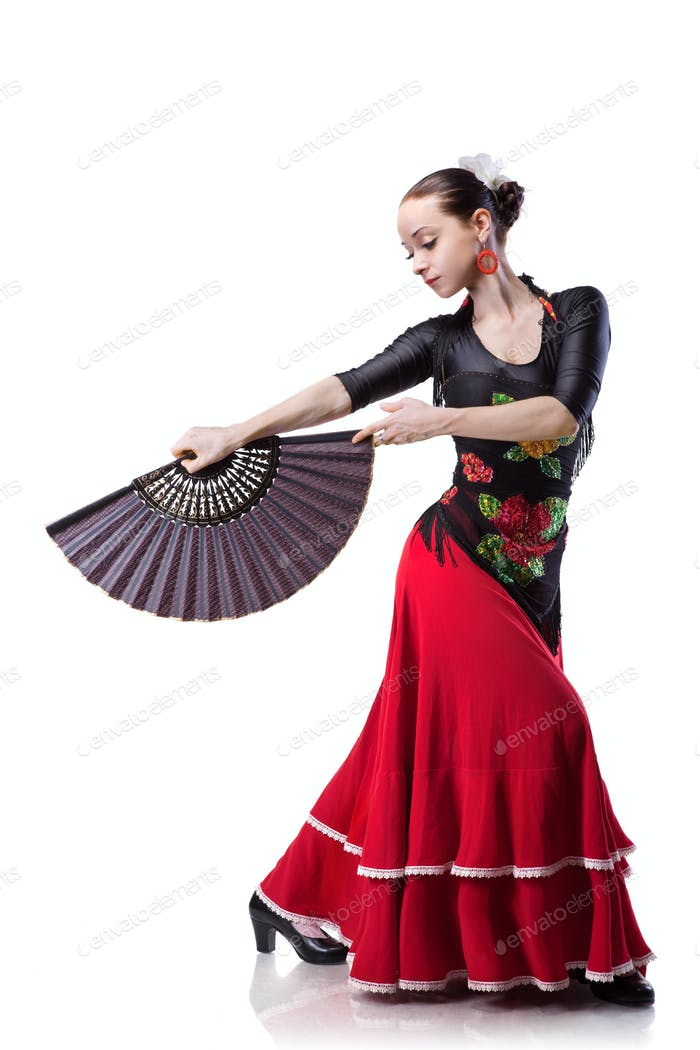 young woman dancing flamenco isolated on white