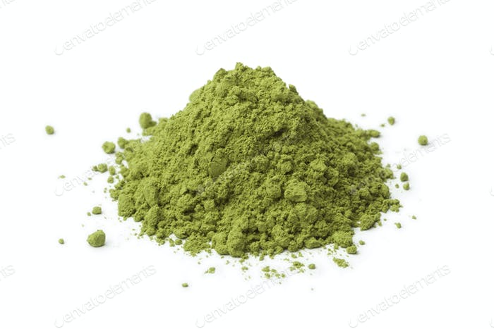 Heap of Japanese powdered green matcha tea